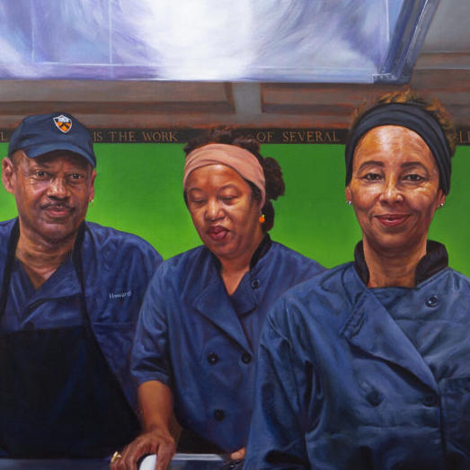 Image of painted portrait of three Princeton Dining Services staff