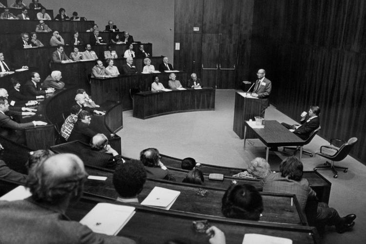 Arthur Lewis lecturing to a full audience in what is now the Sir Arthur Lewis auditorium in Robertson Hall