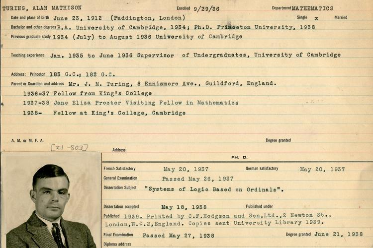 Image of Turing's information records while a Princeton student