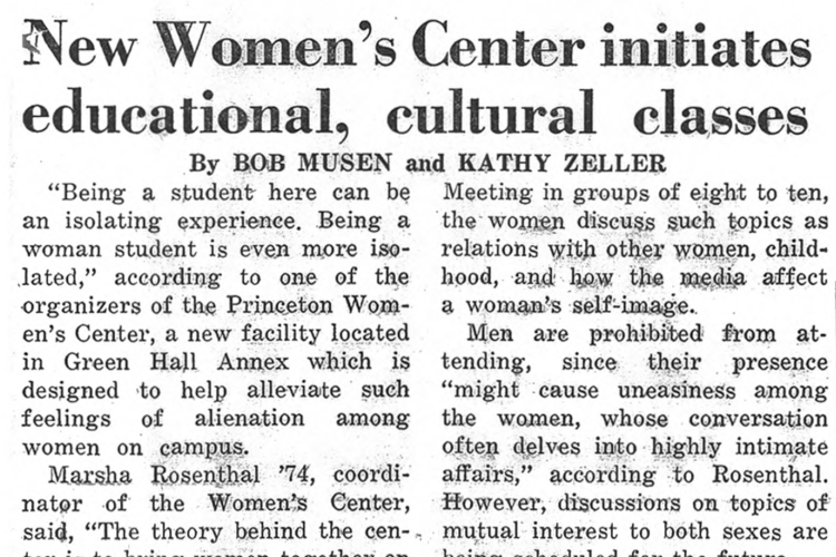 "Image of a newspaper article in the Princetonian titled ""New Women's Center initiates educational, cultural classes"""
